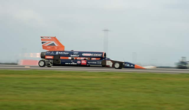 The Bloodhound 1,000mph supersonic racing car during a previous run in 2017