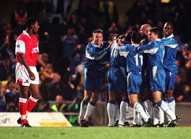 Mark Hughes helped Chelsea exact some revenge 10 days later as his goal helped the Blues to League Cup semi-final victory.