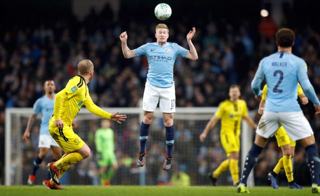 Kevin De Bruyne played his part in City's demolition of Burton in the Carabao Cup