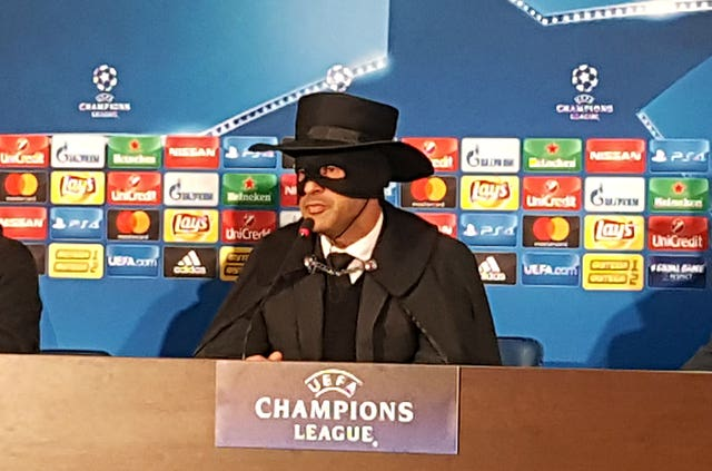Fonseca dressed as 'Zorro' during a press conference