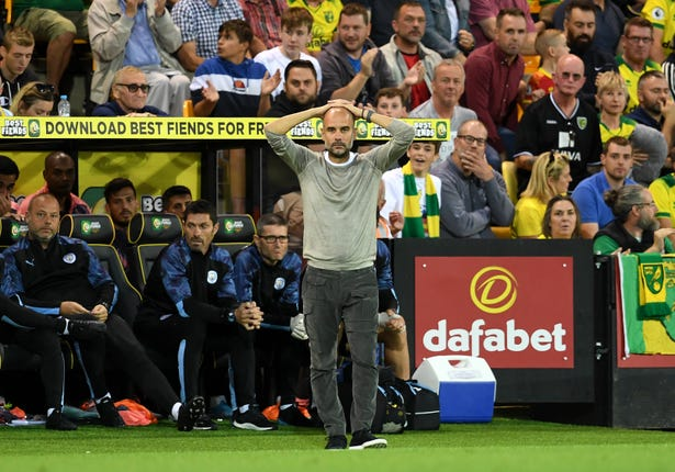 Guardiola's side made uncharacteristic errors at Carrow Road