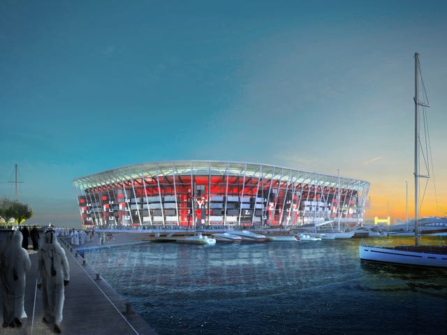 A computer generated image of the Ras Abu Aboud Stadium in Doha, which is set to host matches at the 2022 World Cup.