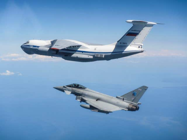 RAF fighter jets intercept a Russian transport aircraft