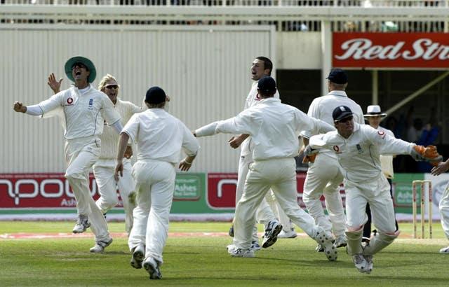 England celebrate victory over Australia at Edgbaston in 2005