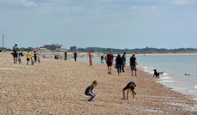 People on the beach at Southsea, Hampshire