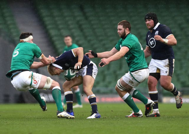 Scotland's Jaco Van Der Walt, second left, made an impressive debut