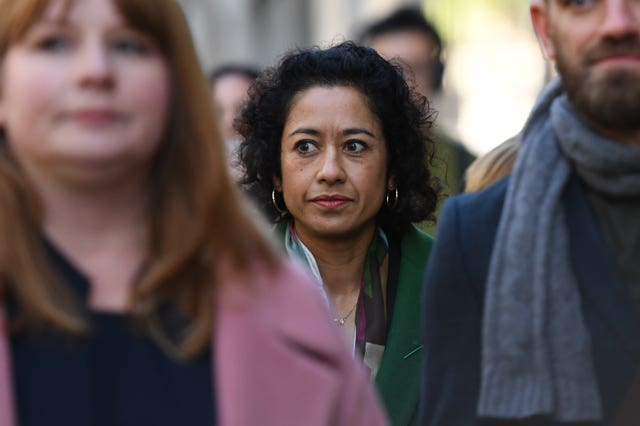Samira Ahmed arrives at the Central London Employment Tribunal