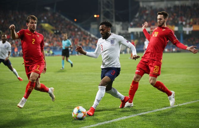 Danny Rose was targeted during the match away to Montenegro