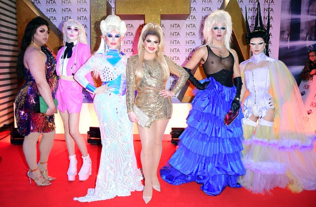 Sum Ting Wong, Scaredy Kat, Blu Hydrangea, Cheryl Hole, Crystal and Gothy Kendoll of RuPaul's Drag Race (left to right) during the National Television Awards