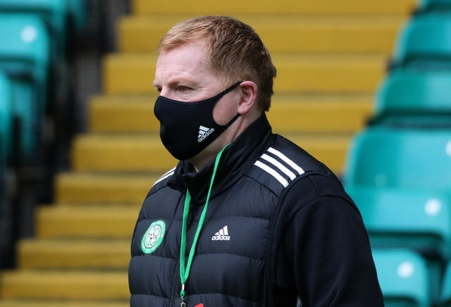 Celtic manager Neil Lennon arrives for the match