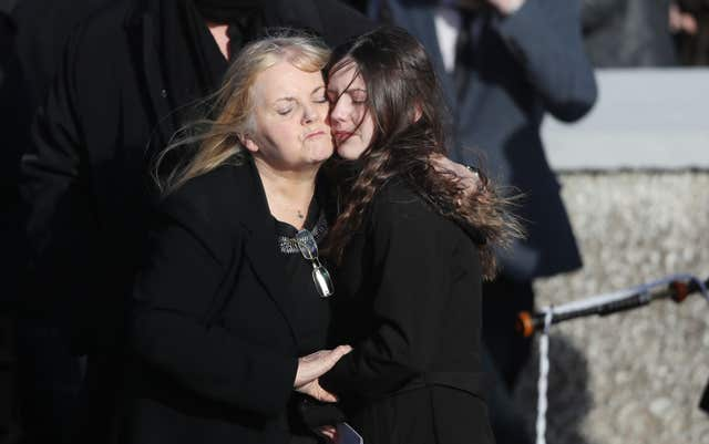 Eileen O'Riordan following the funeral of her daughter (Niall Carson/PA)