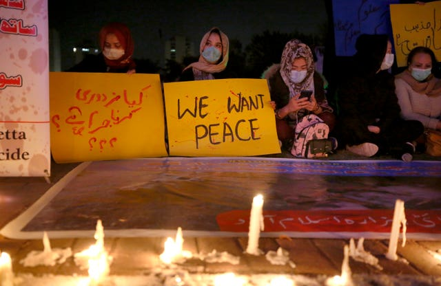 A vigil in Islamabad for peace following the murders of miners (Anjum Naveed/AP)
