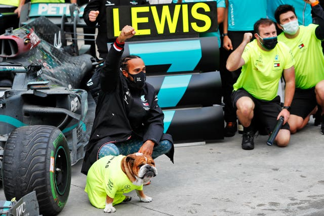 Lewis Hamilton celebrates winning his seventh world title in Turkey