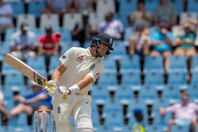 Joe Root (pictured) is at the crease with Ben Stokes
