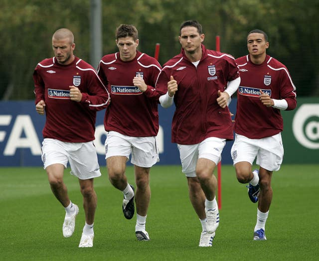 Jermaine Jenas, right, was in the shadow of the likes of David Beckham, Steven Gerrard and Frank Lampard during his England career