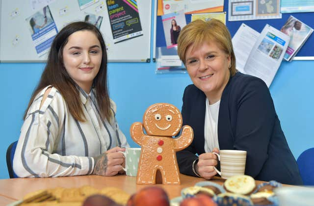 Nicola Sturgeon (right) with Charlotte Liddell who was chosen to be mentored by the First Minister (Sandy Young/PA)