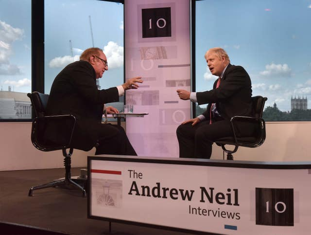 Neil interviewed both Boris Johnson and Jeremy Hunt during the leadership debate (Jeff Overs/BBC)