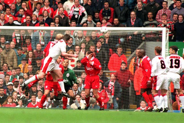 Gary Pallister stunned the Kop as the United defender scored twice in a 3-1 win at Anfield in April 1997.