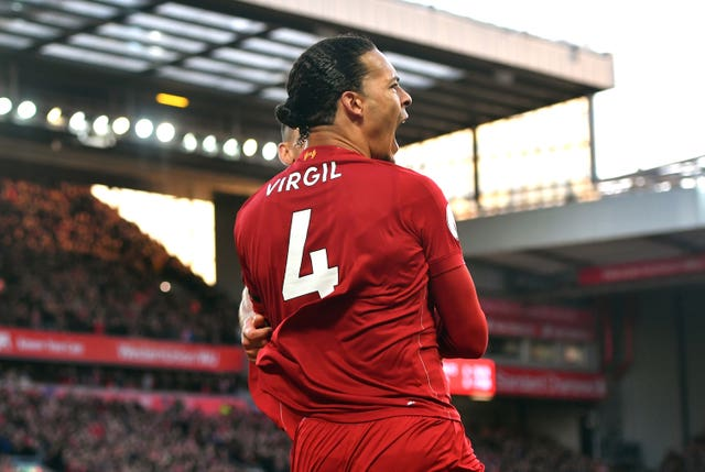 Virgil van Dijk celebrates his first goal against Brighton