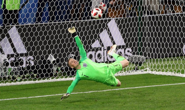 Jordan Pickford's save from Colombia's Carlos Bacca helped England win a World Cup penalty shootout for the first time (Aaron Chown/PA)