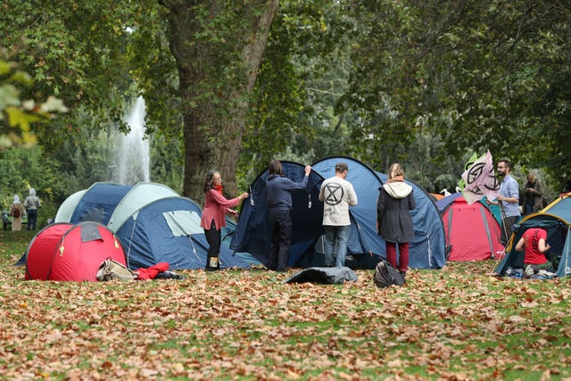 Protesters set up camp in St James' Park