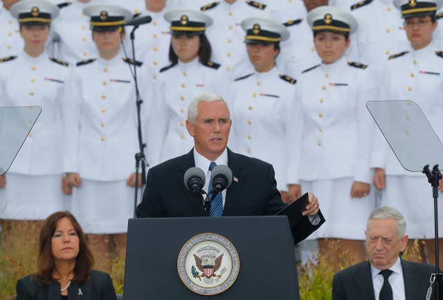 Mike Pence speaks during the memorial at the Pentagon