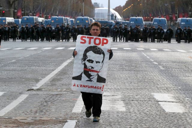 A demonstrator on the Champs-Elysees