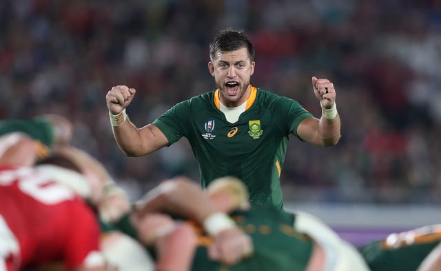 South Africa's Handre Pollard celebrates their semi-final victory over Wales