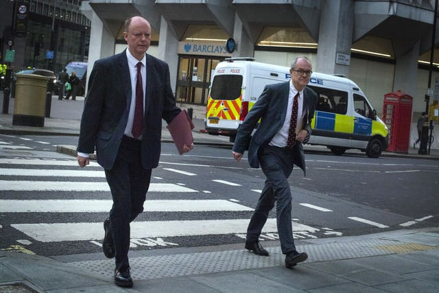 Prof Whitty and chief scientific adviser Sir Patrick Vallance