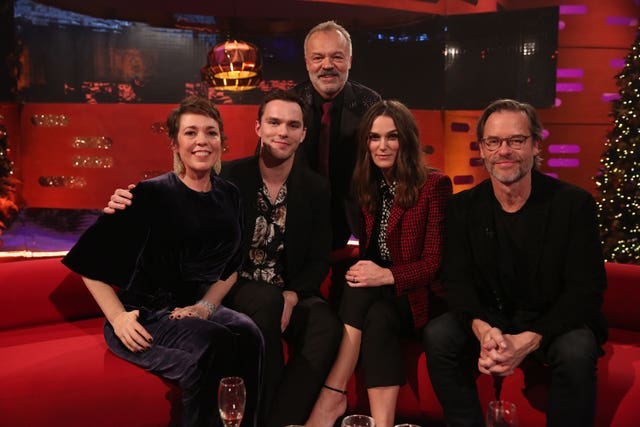 Host Graham Norton with (seated left to right) Olivia Colman, Nicholas Hoult, Keira Knightley and Guy Pearce during the filming for the Graham Norton Show