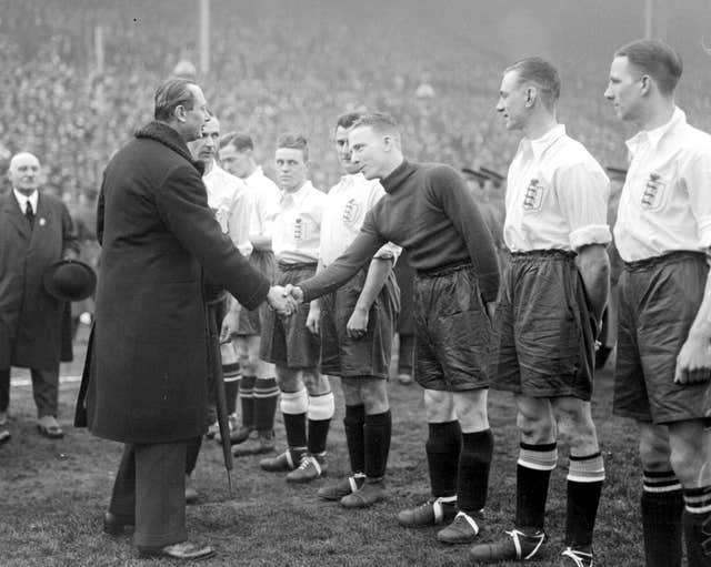 The Duke of Gloucester shakes hands with Harry Hibbs before England v Scotland at Wembley in 1930