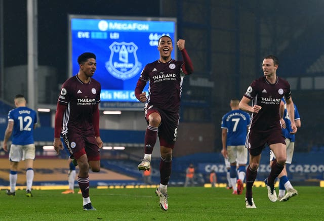 Youri Tielemans, centre, celebrates Leicester's equaliser
