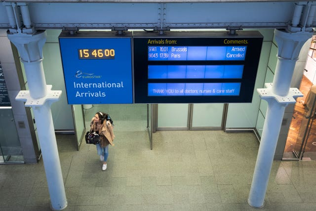 A very quiet Eurostar arrivals area (Victoria Jones/PA)