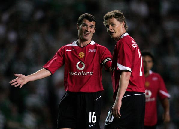 Roy Keane, left, and Ole Gunnar Solskjaer, right, enjoyed success as Manchester United players under Sir Alex Ferguson