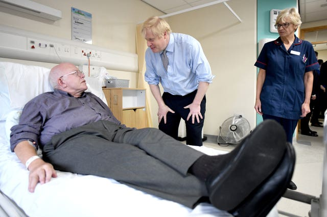 The PM chats to a patient at Bassetlaw District General Hospital