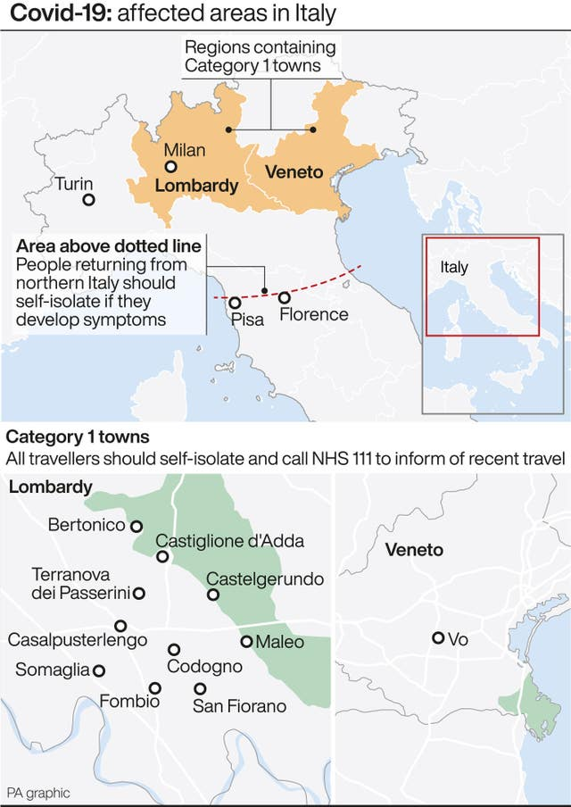 Covid-19: affected areas in Italy