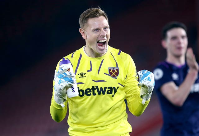 West Ham goalkeeper David Martin led the celebrations after a rare win