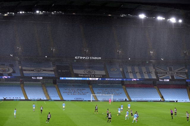 Manchester City play in front of an empty Etihad Stadium