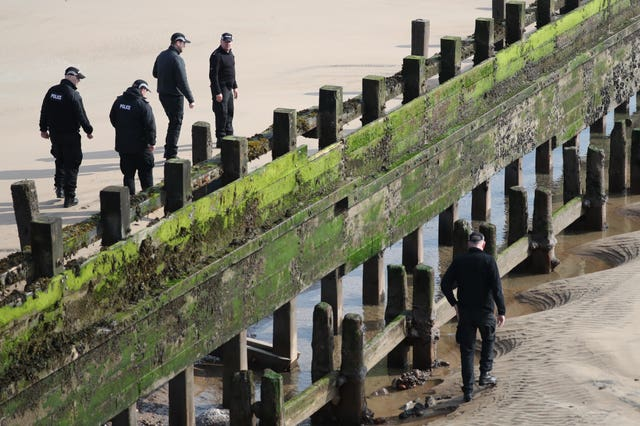 Police officers on Aberdeen beach