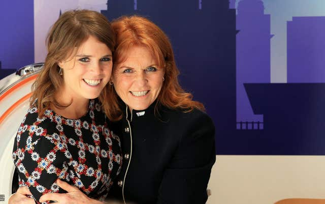 Princess Eugenie, with her mother the Duchess of York Sarah Ferguson during a visit to the Teenage Cancer Trust ward at the Alder Hey Hospital, Liverpool