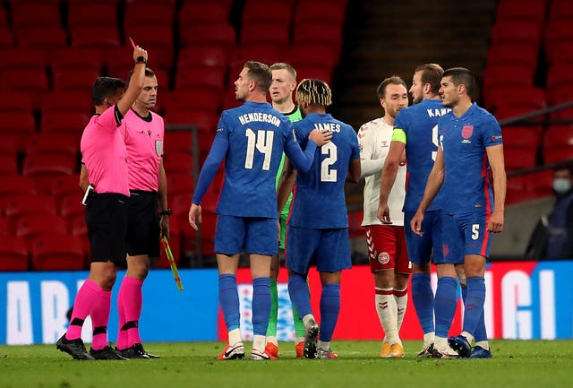 Reece James is sent off after the final whistle against Denmark