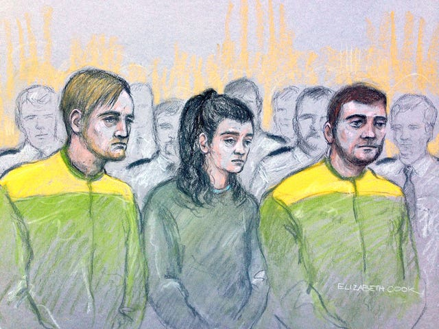 Zak Bolland, left, Courtney Brierley and David Worrall have been convicted over the arson attack (Elizabeth Cook/PA)