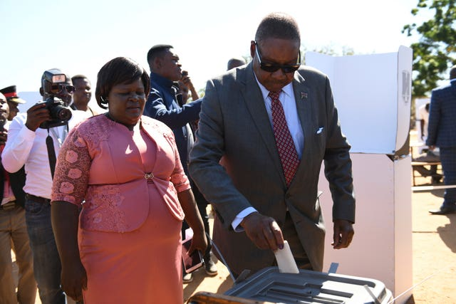 Malawi's President Peter Mutharika casts his vote