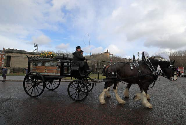The funeral cortege arrives at Liverpool Anglican Cathedral (Peter Byrne/PA)