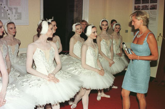 Diana with ballerinas from the English National Ballet after they gave a gala performance of Swan Lake at the Royal Albert Hall