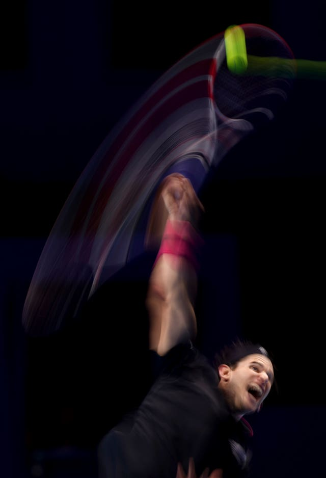 Dominic Thiem serves during the deciding match of the ATP Finals against Daniil Medvedev. The Austrian took the opening set but ended as runner-up after his Russian opponent battled back to win 4–6 7–6 (2) 6–4