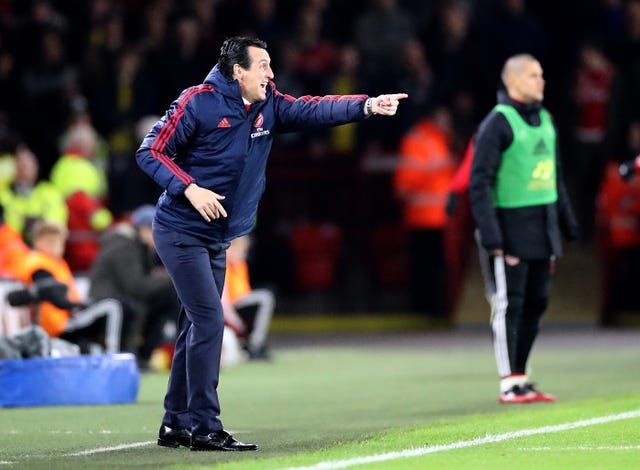 Arsenal manager Unai Emery watched his side fail to break Sheffield United down