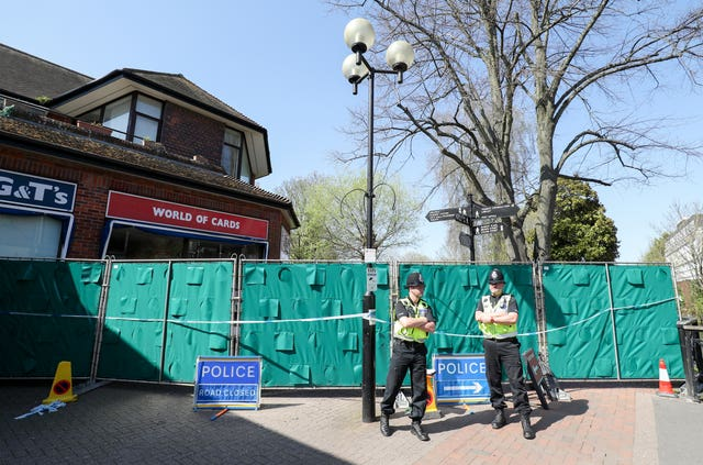 Police cordons at the Maltings shopping centre, Salisbury as preparations began to rid nine hot spots of toxic after-effects (Andrew Matthews/PA)
