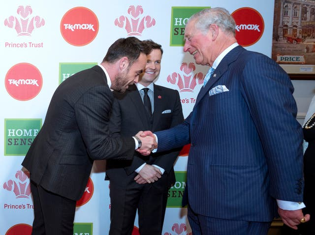 Hosts Anthony 'Ant' McPartlin and Declan 'Dec' Donnelly were on hand to greet Prince Charles (Geoff Pugh/The Daily Telegraph/PA)