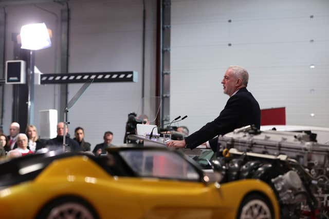 Jeremy Corbyn at the National Transport Design Centre, Coventry University Technology Park (Aaron Chown/PA)